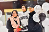 Syracuse Cougars Kaleb Benedict (5) poses with his parents on Senior Night at Meachem Ice Rink in Syracuse, New York on Thursday, February 13, 2020.