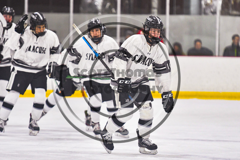 Syracuse Cougars Ryan Durand (10) celebrates his goal against the Baldwinsville Bees in NYSPHSAA Section III Boys Ice hockey action at Meachem Ice Rink in Syracuse, New York on Thursday, February 13, 2020. Syracuse won 4-0.