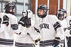 Syracuse Cougars Kiernan Proud (21) being introduced before playing the Baldwinsville Bees in a NYSPHSAA Section III Boys Ice hockey game at Meachem Ice Rink in Syracuse, New York on Thursday, February 13, 2020.