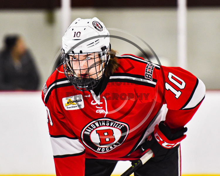 Baldwinsville Bees Nick Purdy (10) before a face-off against the Syracuse Cougars in NYSPHSAA Section III Boys Ice hockey action at Meachem Ice Rink in Syracuse, New York on Thursday, February 13, 2020. Syracuse won 4-0.