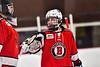 Baldwinsville Bees Keegan Lynch (2) glove bumps with goalie Jon Schirmer (1) in a NYSPHSAA Section III Boys Ice hockey game against the Syracuse Cougars at Meachem Ice Rink in Syracuse, New York on Thursday, February 13, 2020. Syracuse won 4-0.