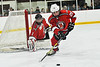Baldwinsville Bees Brayden Penafeather-Stevenson (25) picks up the puck in front of Bees goalie Jon Schirmer (1) against the Syracuse Cougars in NYSPHSAA Section III Boys Ice hockey action at Meachem Ice Rink in Syracuse, New York on Thursday, February 13, 2020. Syracuse won 4-0.