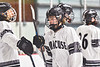 Syracuse Cougars Ryan Durand (10) being introduced before playing the Baldwinsville Bees in a NYSPHSAA Section III Boys Ice hockey game at Meachem Ice Rink in Syracuse, New York on Thursday, February 13, 2020.