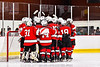 Baldwinsville Bees players huddle up before the Third Period against the Syracuse Cougars in NYSPHSAA Section III Boys Ice hockey action at Meachem Ice Rink in Syracuse, New York on Thursday, February 13, 2020. Syracuse won 4-0.