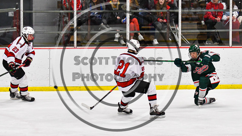 Fulton Red Raiders Kevin VanBuren (3) fires the puck past Baldwinsville Bees Brett Collier (21) in NYSPHSAA Section III Boys Ice Hockey action at the Lysander Ice Arena in Baldwinsville, New York on Thursday, February 20, 2020. Baldwinsville won 2-1.