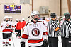 Baldwinsville Bees Alexander Pompo (5) after defeating the Fulton Red Raiders in a NYSPHSAA Section III Boys Ice Hockey playoff game at the Lysander Ice Arena in Baldwinsville, New York on Thursday, February 20, 2020. Baldwinsville won 2-1.