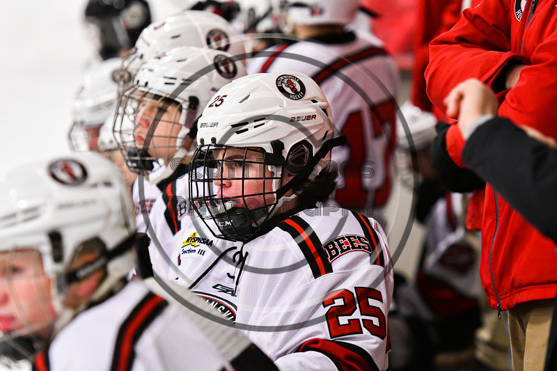 Baldwinsville Bees Brayden Penafeather-Stevenson (25) on the bench against the Fulton Red Raiders in NYSPHSAA Section III Boys Ice Hockey action at the Lysander Ice Arena in Baldwinsville, New York on Thursday, February 20, 2020. Baldwinsville won 2-1.