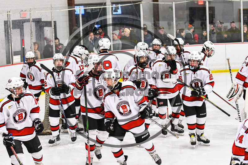 Baldwinsville Bees players break their huddle before the Third Period against the Fulton Red Raiders in NYSPHSAA Section III Boys Ice Hockey action at the Lysander Ice Arena in Baldwinsville, New York on Thursday, February 20, 2020. Baldwinsville won 2-1.