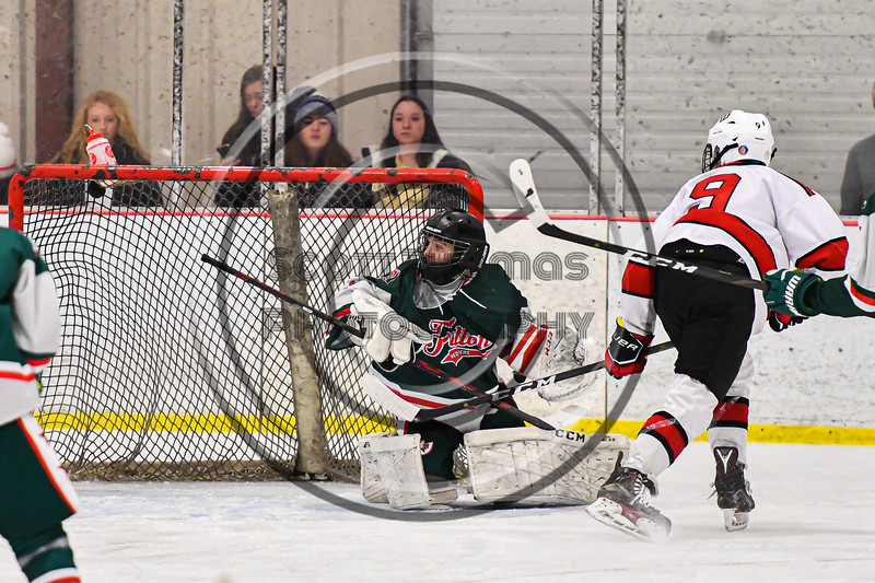 Baldwinsville Bees Matt Carner (9) puts a backhand shot past Fulton Red Raiders goalie Jadon Lee (1) for a goal in NYSPHSAA Section III Boys Ice Hockey action at the Lysander Ice Arena in Baldwinsville, New York on Thursday, February 20, 2020. Baldwinsville won 2-1.
