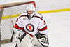 Baldwinsville Bees goalie Brad O'Neil (30) in net against the Fulton Red Raiders in NYSPHSAA Section III Boys Ice Hockey action at the Lysander Ice Arena in Baldwinsville, New York on Thursday, February 20, 2020. Baldwinsville won 2-1.