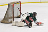 Fulton Red Raiders Jadon Lee (1) makes a save against the Baldwinsville Bees in NYSPHSAA Section III Boys Ice Hockey action at the Lysander Ice Arena in Baldwinsville, New York on Thursday, February 20, 2020. Baldwinsville won 2-1.