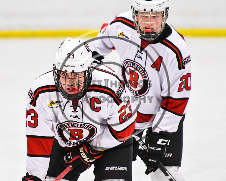 Baldwinsville Bees Braden Lynch (23) before a face-off against the Fulton Red Raiders in NYSPHSAA Section III Boys Ice Hockey action at the Lysander Ice Arena in Baldwinsville, New York on Thursday, February 20, 2020. Baldwinsville won 2-1.