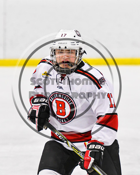 Baldwinsville Bees Christian Ficarra (17) on the ice against the Fulton Red Raiders in NYSPHSAA Section III Boys Ice Hockey action at the Lysander Ice Arena in Baldwinsville, New York on Thursday, February 20, 2020. Baldwinsville won 2-1.