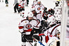 Baldwinsville Bees Luke Hoskin (16) celebrates his goal against the Fulton Red Raiders in NYSPHSAA Section III Boys Ice Hockey action at the Lysander Ice Arena in Baldwinsville, New York on Thursday, February 20, 2020. Baldwinsville won 2-1.