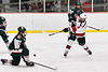 Baldwinsville Bees Luke Hoskin (16) has his shot blocked by Fulton Red Raiders Kevin VanBuren (3) in NYSPHSAA Section III Boys Ice Hockey action at the Lysander Ice Arena in Baldwinsville, New York on Thursday, February 20, 2020. Baldwinsville won 2-1.