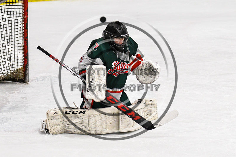 Fulton Red Raiders goalie Jadon Lee (1) makes a save against the Baldwinsville Bees in NYSPHSAA Section III Boys Ice Hockey action at the Lysander Ice Arena in Baldwinsville, New York on Thursday, February 20, 2020. Baldwinsville won 2-1.