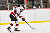Baldwinsville Bees Matt Carner (9) passes the puck against the Fulton Red Raiders in NYSPHSAA Section III Boys Ice Hockey action at the Lysander Ice Arena in Baldwinsville, New York on Thursday, February 20, 2020. Baldwinsville won 2-1.