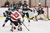 Baldwinsville Bees Braden Lynch (23) fires the puck at the Fulton Red Raiders net in NYSPHSAA Section III Boys Ice Hockey action at the Lysander Ice Arena in Baldwinsville, New York on Thursday, February 20, 2020. Baldwinsville won 2-1.