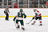 Baldwinsville Bees Brett Collier (21) lining up and firing the puck at the Fulton Red Raiders net in NYSPHSAA Section III Boys Ice Hockey action at the Lysander Ice Arena in Baldwinsville, New York on Thursday, February 20, 2020. Baldwinsville won 2-1.