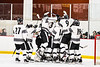 Syracuse Cougars players celebrate the win over the Baldwinsville Bees in a NYSPHSAA Section III Boys Ice hockey playoff game at Meachem Ice Rink in Syracuse, New York on Wednesday, February 26, 2020. Syracuse won 3-2.