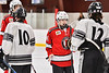 Baldwinsville Bees Reese Gilmore (14) shake hands with the Syracuse Cougars team after a NYSPHSAA Section III Boys Ice hockey playoff game at Meachem Ice Rink in Syracuse, New York on Wednesday, February 26, 2020. Syracuse won 3-2.