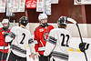 Baldwinsville Bees Matt Carner (9) shake hands with the Syracuse Cougars team after a NYSPHSAA Section III Boys Ice hockey playoff game at Meachem Ice Rink in Syracuse, New York on Wednesday, February 26, 2020. Syracuse won 3-2.