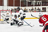 Baldwinsville Bees Ryan Dickinson (6) fires the puck at the Syracuse Cougars net in NYSPHSAA Section III Boys Ice hockey playoff action at Meachem Ice Rink in Syracuse, New York on Wednesday, February 26, 2020. Syracuse won 3-2.