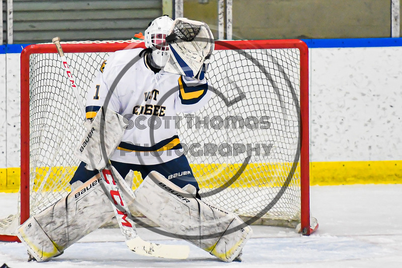 West Genesee Wildcats goalie David Myers (1) makes a save against the Fayetteville-Manlius Hornets in a NYSPHSAA Section III Boys Ice hockey playoff game at the Shove Park in Camillus, New York on Wednesday, February 26, 2020. West Genesee won 4-1.