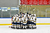West Genesee Wildcats huddle before playing the Fayetteville-Manlius Hornets in a NYSPHSAA Section III Boys Ice hockey playoff game at the Shove Park in Camillus, New York on Wednesday, February 26, 2020.