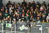 Fayetteville-Manlius Hornets students and fans cheer on their team against the West Genesee Wildcats in a NYSPHSAA Section III Boys Ice hockey playoff game at the Shove Park in Camillus, New York on Wednesday, February 26, 2020. West Genesee won 4-1.