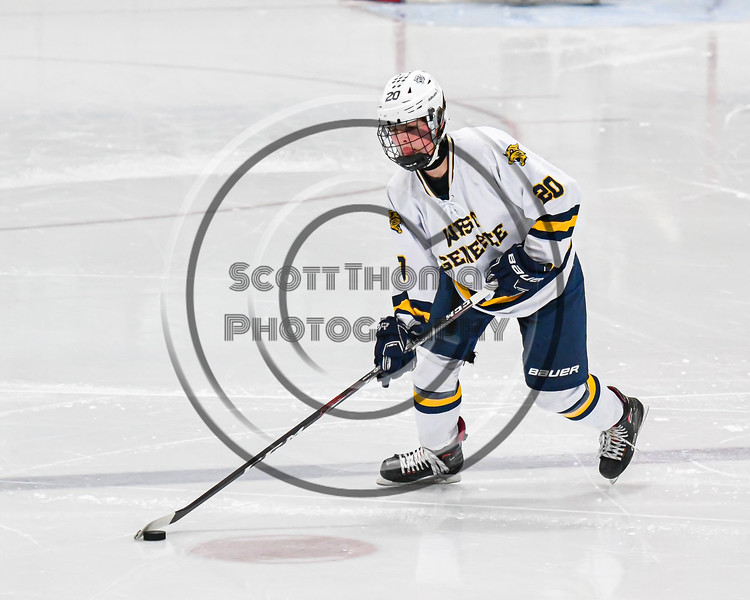 West Genesee Wildcats Ryan Considine (20) with the puck against the Fayetteville-Manlius Hornets in a NYSPHSAA Section III Boys Ice hockey playoff game at the Shove Park in Camillus, New York on Wednesday, February 26, 2020. West Genesee won 4-1.