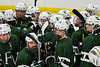 Fayetteville-Manlius Hornets break their huddle before playing the West Genesee Wildcats in a NYSPHSAA Section III Boys Ice hockey playoff game at the Shove Park in Camillus, New York on Wednesday, February 26, 2020.