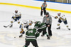 West Genesee Wildcats Andrew Schneid (11) faces off against Fayetteville-Manlius Hornets Spencer Sasenbury (28) to start the Third Period of a NYSPHSAA Section III Boys Ice hockey playoff game at the Shove Park in Camillus, New York on Wednesday, February 26, 2020. West Genesee won 4-1.