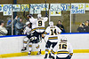 West Genesee Wildcats players celebrate a goal by Liam Sexton (7) against the Fayetteville-Manlius Hornets in a NYSPHSAA Section III Boys Ice hockey playoff game at the Shove Park in Camillus, New York on Wednesday, February 26, 2020. West Genesee won 4-1.
