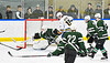 West Genesee Wildcats Liam Sexton (7, not pictured) flips the puck past Fayetteville-Manlius Hornets goalie Konrad Walberger (1) for a goal in a NYSPHSAA Section III Boys Ice hockey playoff game at the Shove Park in Camillus, New York on Wednesday, February 26, 2020. West Genesee won 4-1.