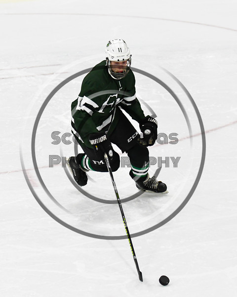 Fayetteville-Manlius Hornets AJ Williamson (11) skating with the puck against the West Genesee Wildcats in a NYSPHSAA Section III Boys Ice hockey playoff game at the Shove Park in Camillus, New York on Wednesday, February 26, 2020. West Genesee won 4-1.