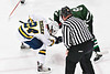West Genesee Wildcats Michael Bergan (24) facing off against Fayetteville-Manlius Hornets Jackson Denton (8) in a NYSPHSAA Section III Boys Ice hockey playoff game at the Shove Park in Camillus, New York on Wednesday, February 26, 2020. West Genesee won 4-1.
