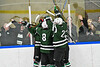 Fayetteville-Manlius Hornets players celebrate the goal by John Manzi (27) against the West Genesee Wildcats in a NYSPHSAA Section III Boys Ice hockey playoff game at the Shove Park in Camillus, New York on Wednesday, February 26, 2020. West Genesee won 4-1.