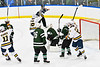 West Genesee Wildcats players celebrate the goal by Jeremy Keyes (19, not pictured) against the Fayetteville-Manlius Hornets in a NYSPHSAA Section III Boys Ice hockey playoff game at the Shove Park in Camillus, New York on Wednesday, February 26, 2020. West Genesee won 4-1.