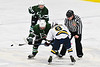 West Genesee Wildcats Joe McLaughlin (9) facing off against Fayetteville-Manlius Hornets John Manzi (27) in a NYSPHSAA Section III Boys Ice hockey playoff game at the Shove Park in Camillus, New York on Wednesday, February 26, 2020. West Genesee won 4-1.