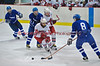 Oswego's Colin Joyce (8) checks the puck away from Baldwinsville's Adam Mohr (14)  in Boy's Ice Hockey on Thursday, January 29, 2009.  Oswego won 2-1.