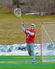 Baldwinsville Bees goalie Daniel Thomas (15) passes the ball against the Cazenovia Lakers in Boys Lacrosse on Saturday, April 5, 2015 at Cazenovia, New York. Cazenovia won 13-5.
