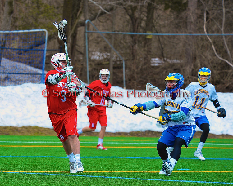 Baldwinsville Bees Cody Luke (3) makes a pass against the Cazenovia Lakers in Boys Lacrosse on Saturday, April 5, 2015 at Cazenovia, New York. Cazenovia won 13-5.