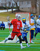 Baldwinsville Bees Connor Chapman (12) behind the Cazenovia Lakers net in Boys Lacrosse on Saturday, April 5, 2015 at Cazenovia, New York. Cazenovia won 13-5.