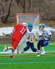 Baldwinsville Bees Sean Barron (11) fires a shot at Cazenovia Lakers goalie Trevor Cross (4) in Boys Lacrosse on Saturday, April 5, 2015 at Cazenovia, New York. Cazenovia won 13-5.