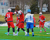 Baldwinsville Bees Charlie Bertrand (24) celebrates his goal against the Cazenovia Lakers with his teammates in Boys Lacrosse on Saturday, April 5, 2015 at Cazenovia, New York. Cazenovia won 13-5.