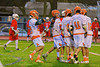 Liverpool Warriors players celebrate the goal by Dillon rogers (6) against the Baldwinsville Bees in Boys Lacrosse on Tuesday, April 29, 2014 at Liverpool, New York, Liverpool won 14-13 in overtime.