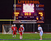 Baldwinsville Bees Stephen Petrelli (9), with 6 seconds left on the clock, waits for the whistle to start play against the Liverpool Warriors in Boys Lacrosse on Tuesday, April 29, 2014 at Liverpool, New York, Liverpool won 14-13 in overtime.