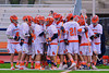 Liverpool Warriors huddle up before playing the Baldwinsville Bees in Boys Lacrosse on Tuesday, April 29, 2014 at Liverpool, New York, Liverpool won 14-13 in overtime.