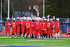 Baldwinsville Bees huddle before playing the Liverpool Warriors in Boys Lacrosse on Tuesday, April 29, 2014 at Liverpool, New York, Liverpool won 14-13 in overtime.